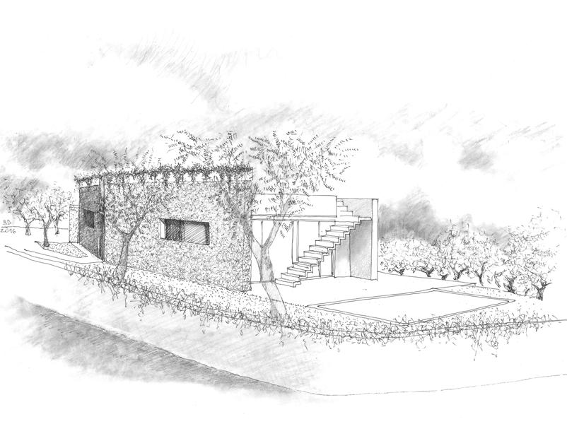01_progettazione-residenza-manerba-garda-pietra-tetto-verde-schizzo-brunoni